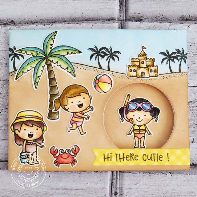 Sunny Studio Stamps Beach Themed Peek-a-boo style interactive sliding card (using palm tree from Seasonal Trees set)