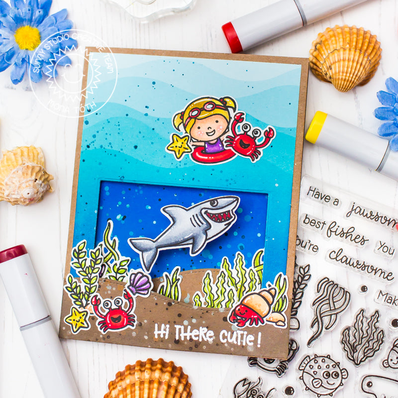 Sunny Studio Stamps: Coastal Cuties and Best Fishes Interactive Shark Wobbler Card