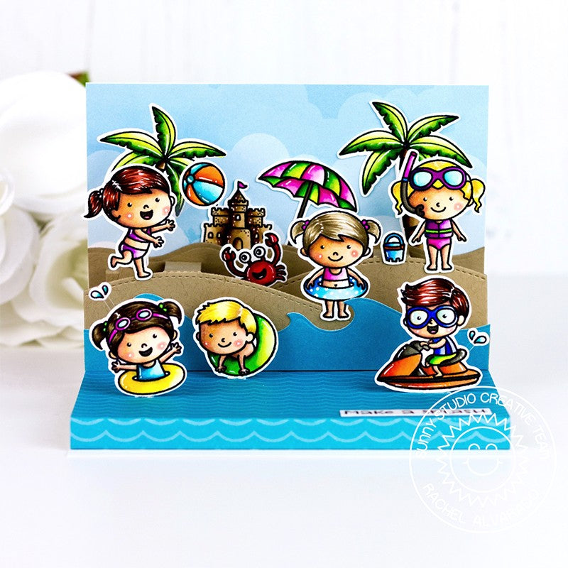 Sunny Studio Stamps Summer Beach Themed Pop-up Card (using Catch A Wave Border Dies)