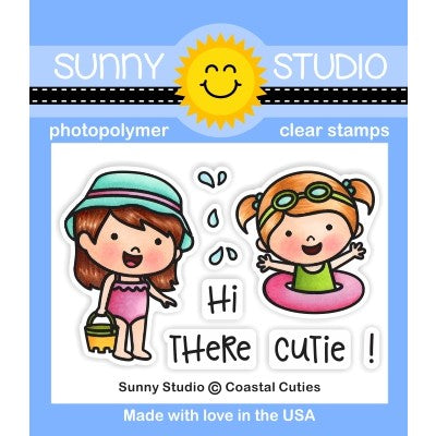 Sunny Studio Stamps Coastal Cuties 2x3 Clear Photopolymer Beach Ocean Stamp Set
