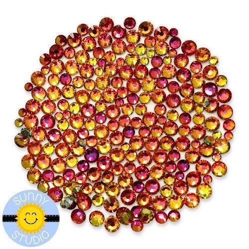 Sunny Studio Color Changing Fire Jewels Crystal Rhinestones in Rose, Orange & Citrine Yellow- 3mm, 4mm & 5mm