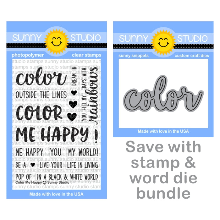 Sunny Studio Color Me Happy Rainbow Themed 3x4 Photo-Polymer Clear Stamps & Color Word Die Bundle Set