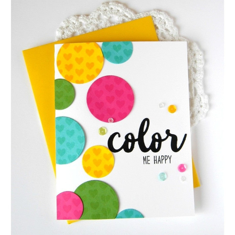 Sunny Studio Stamps Color Me Happy Card using Color word die