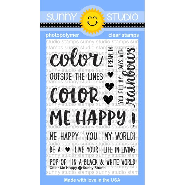 Sunny Studio Stamps Color Me Happy Rainbow Themed 3x4 Photo-Polymer Clear Stamp Set