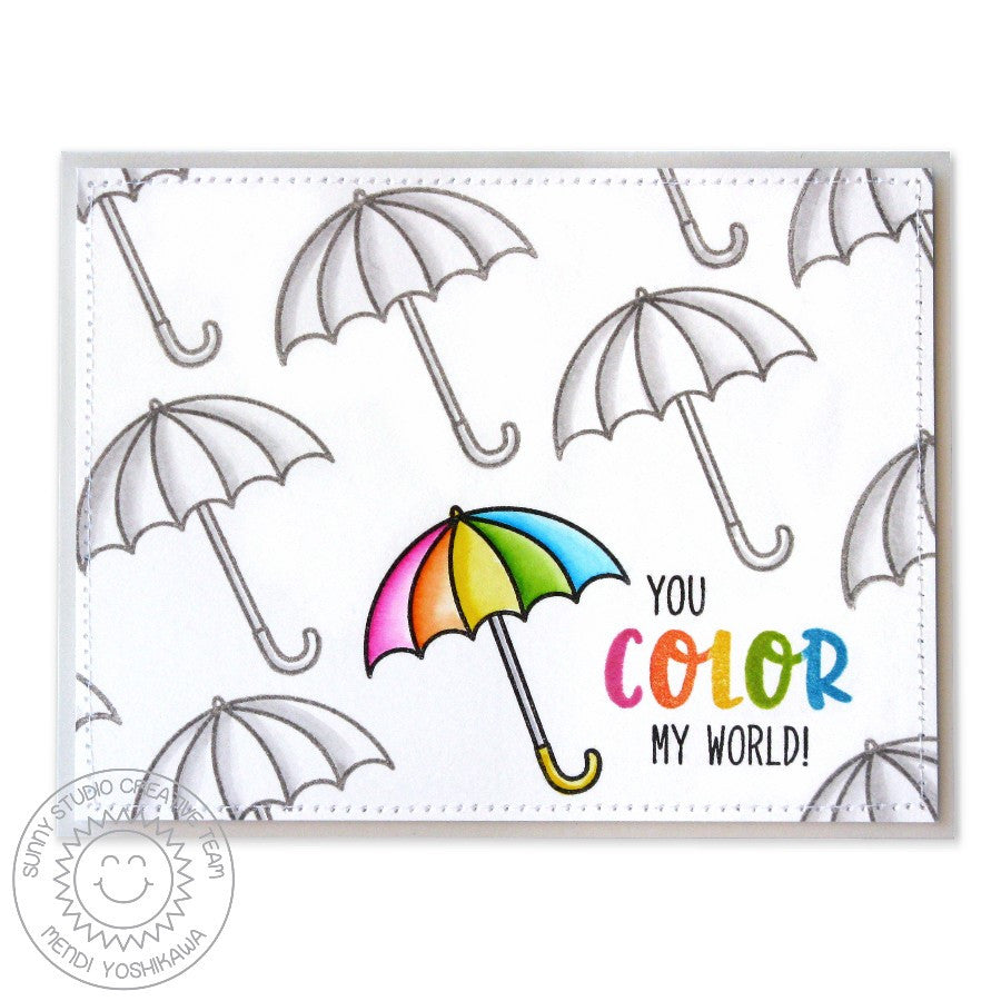 Sunny Studio Stamps Rain or Shine Rainbow Umbrella Color My World Card