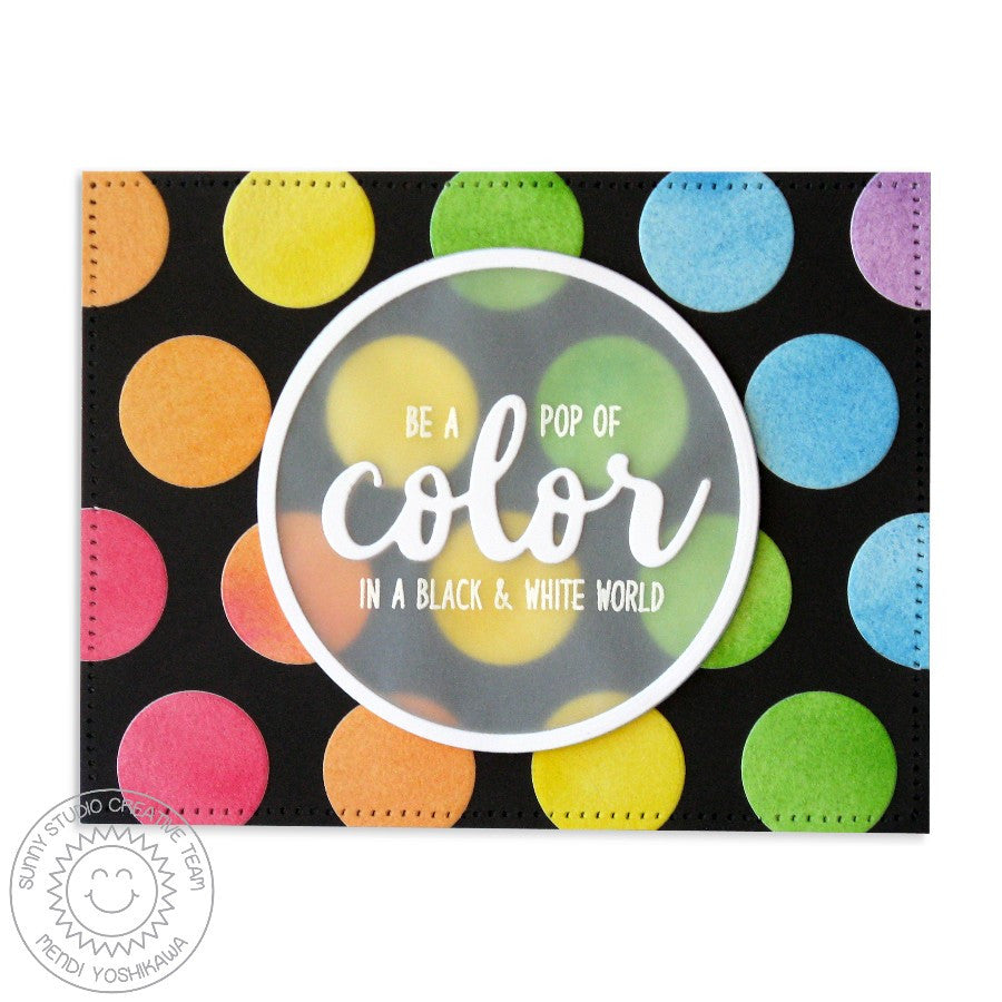 Sunny Studio Stamps Color My Happy Rainbow Polka-dot Card