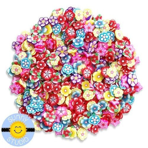 Sunny Studio Stamps Rainbow Colorful Blossoms Clay Flower Confetti Sprinkles Embellishments for Shaker Cards