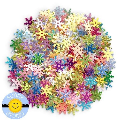 Sunny Studio Stamps Iridescent Colorful Rainbow 8mm Snowflake Sequins perfect for embellishing paper crafting projects or shaker cards