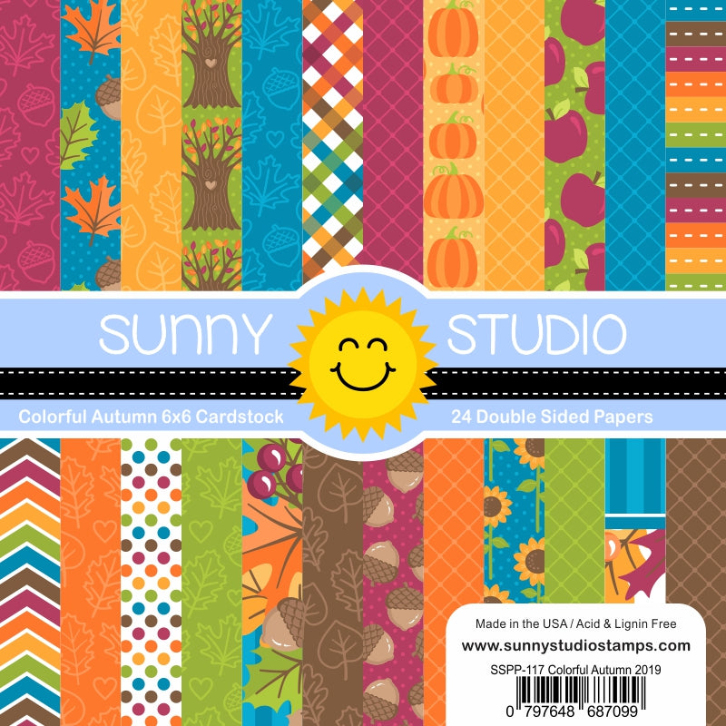 Sunny Studio Stamps Colorful Autumn 6x6 Fall Double Sided Patterned Paper Pack- 24 sheets