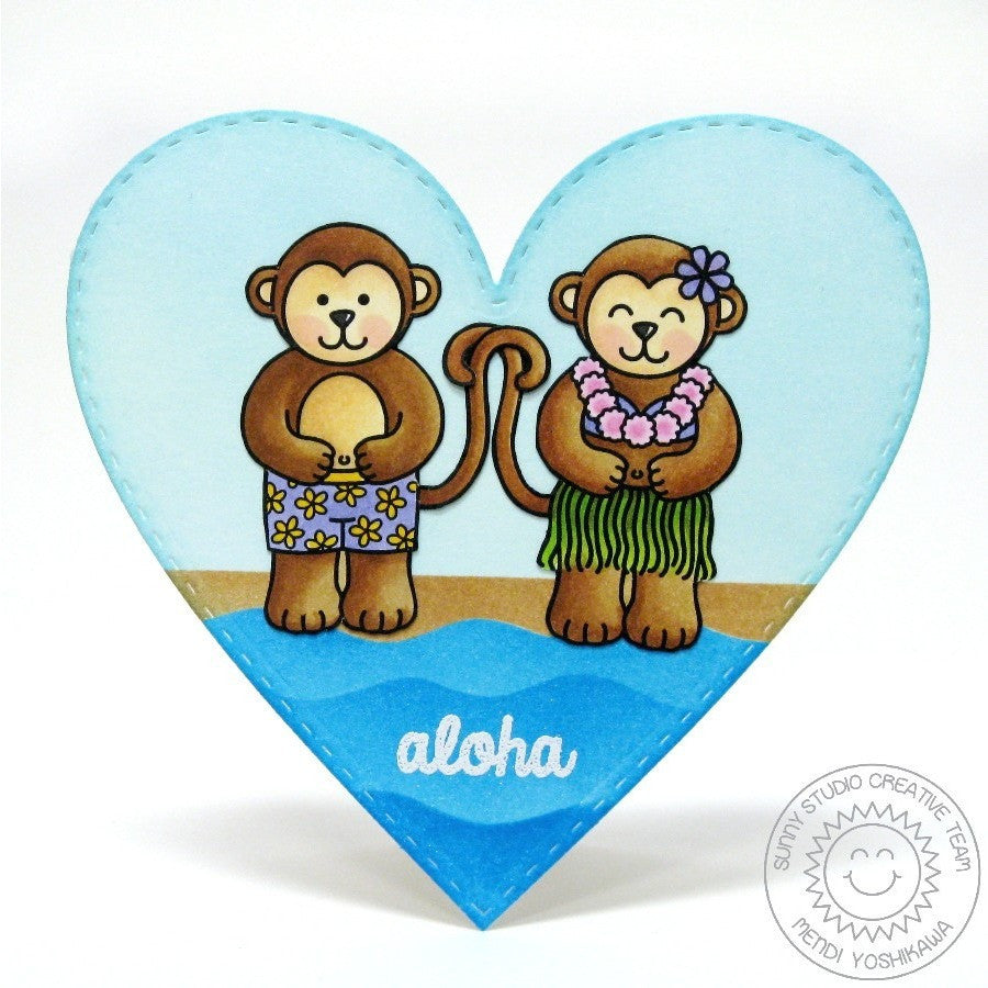Sunny Studio Stamps Comfy Creatures Aloha Boy & Hula Girl Monkey Heart Shaped Card