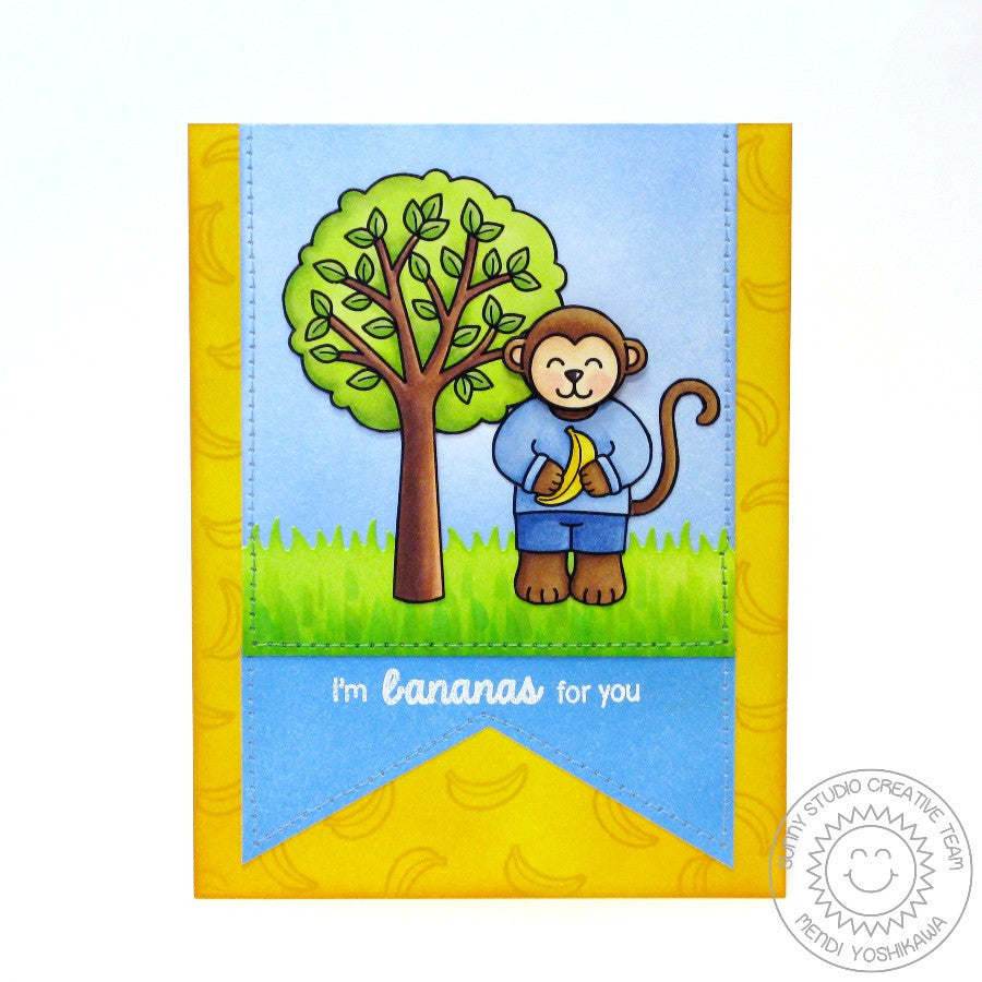 Sunny Studio Stamps Summer Picnic Tree & Monkey Banana Card