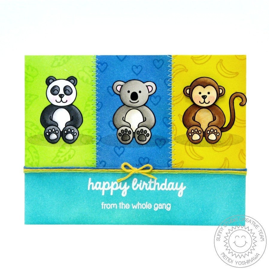 Sunny Studio Stamps Comfy Creatures Panda Bear, Koala & Monkey Happy Birthday From The Whole Gang Card