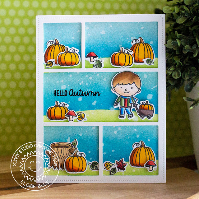 Sunny Studio Stamps Hello Autumn Pumpkin Patch Card using Comic Strip Everyday dies