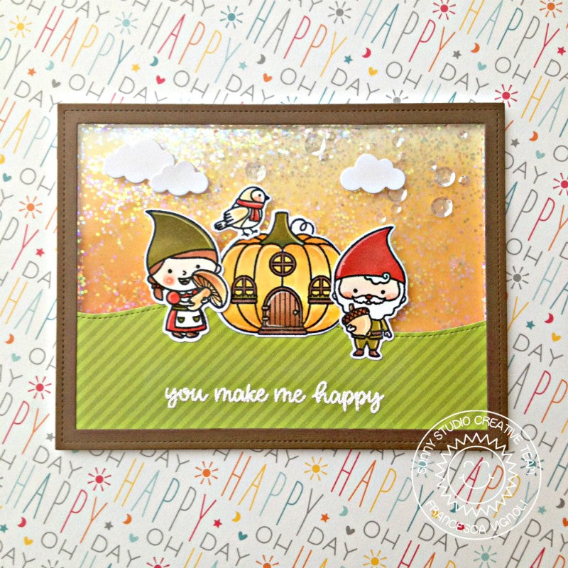 Sunny Studio Stamps Home Sweet Gnome Pumpkin House Fall Shaker Card