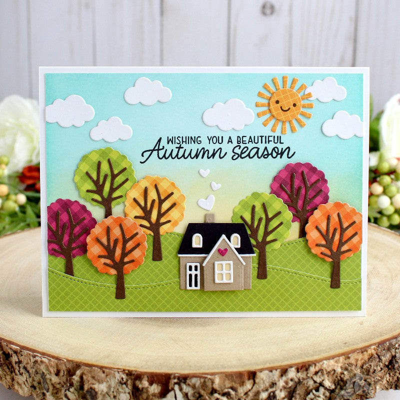 Sunny Studio Stamps Autumn Home with Fall Trees Card (using Comic Strip Everyday dies & Woodland Border dies)