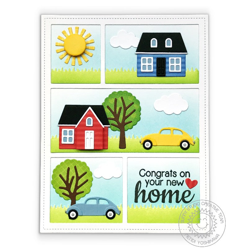 Sunny Studio Stamps Comic Strip Everyday Congrats On Your New Home House Card