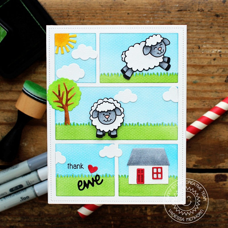 Sunny Studio Stamps Leaping Sheep Card using Comic Strip Dies