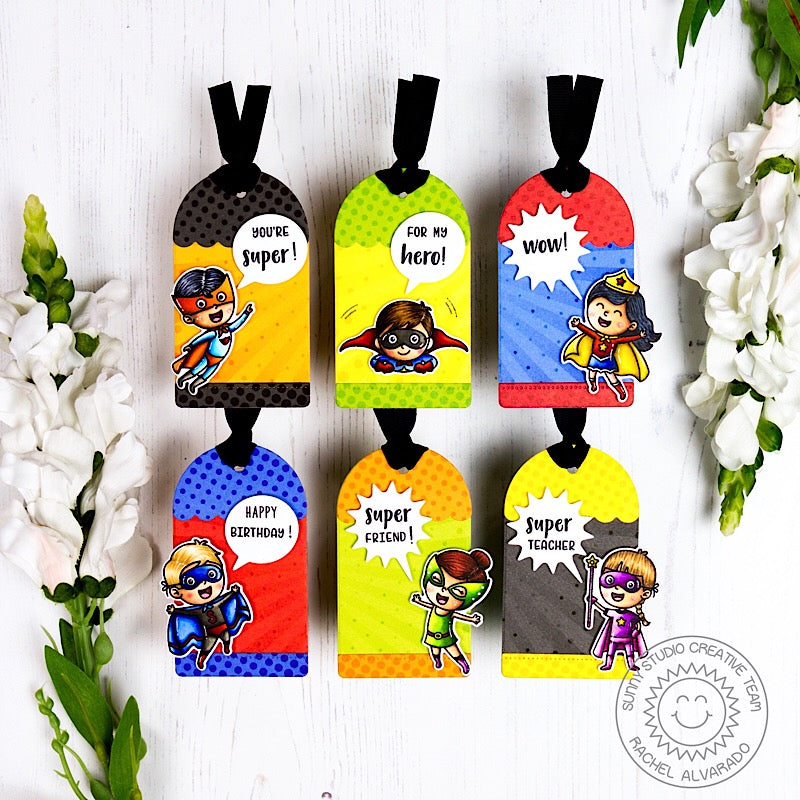 Sunny Studio Stamps Super Duper Superhero Birthday Gift Tags by Rachel