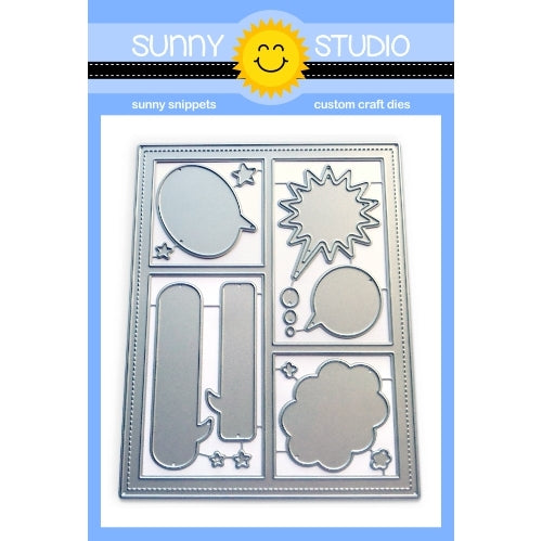 Sunny Studio Stamps Comic Strip & Speech Bubbles Stitched Rectangle Frame Backdrop Die