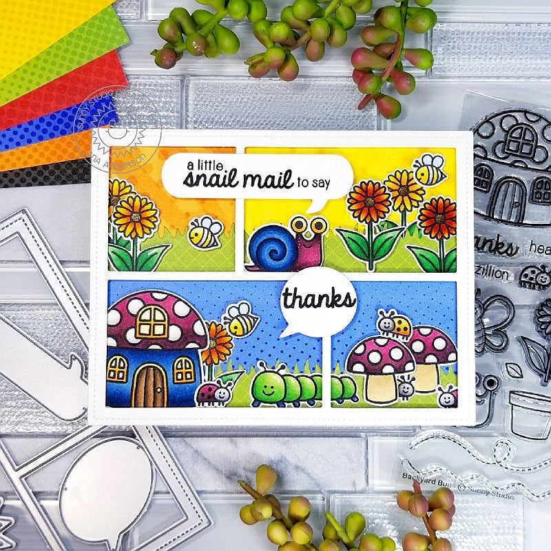 Sunny Studio Stamps Snail Mail Backyard Bugs Card using Comic Strip Speech Bubbles Die