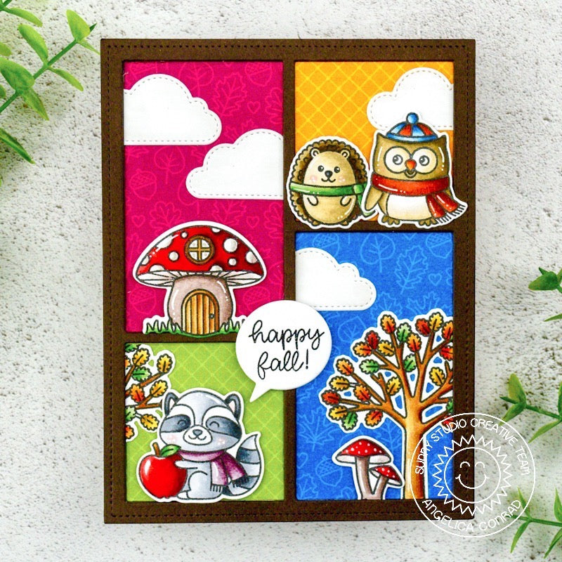 Sunny Studio Stamps Colorblock Autumn Critters Happy Fall Handmade Card by Angelica (using stitched Fluffy Cloud Dies)
