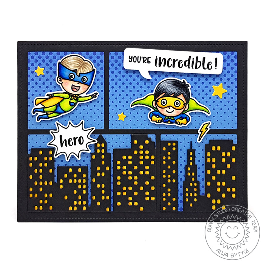 Sunny Studio Stamps Superhero Halftones Handmade Card by Anja (using Stitched Comic Strip Speech Bubbles Die)