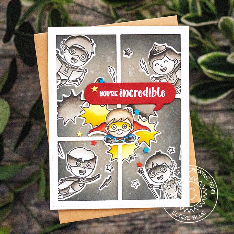 Sunny Studio Stamps Super Duper Black & White Comic Strip Style Superhero Card by Eloise Blue