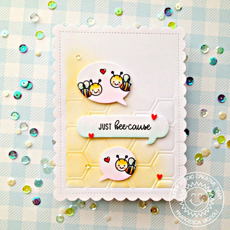 Sunny Studio Stamps Just Bee-cause Honey Bee Embossed Honeycomb Card (using Frilly Frames Hexagon Dies)