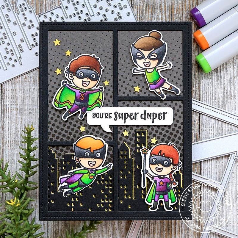 Sunny Studio Stamps Super Duper Superhero Comic Strip Halftones Handmade Card by Juliana Michaels