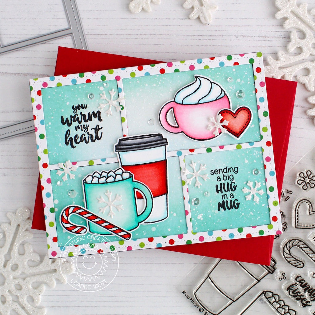 Sunny Studio Stamps Hug in a Mug Hot Cocoa & Hot Chocolate Polka-dot Pink & Aqua Colorblock Holiday Christmas Card