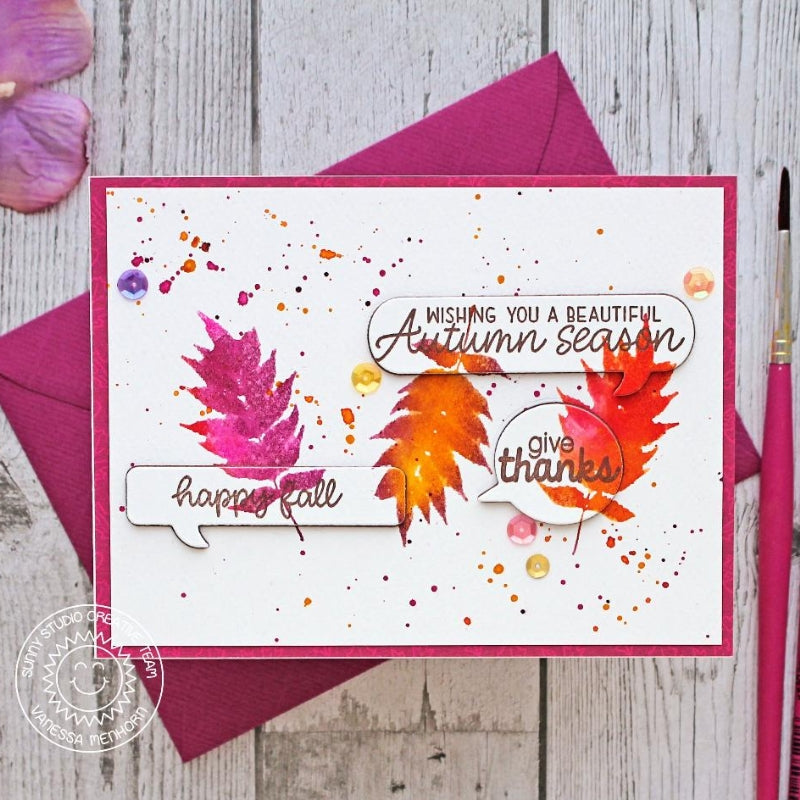 Sunny Studio Stamps Elegant Leaves Happy Fall Handmade Card by Vanessa Menhorn