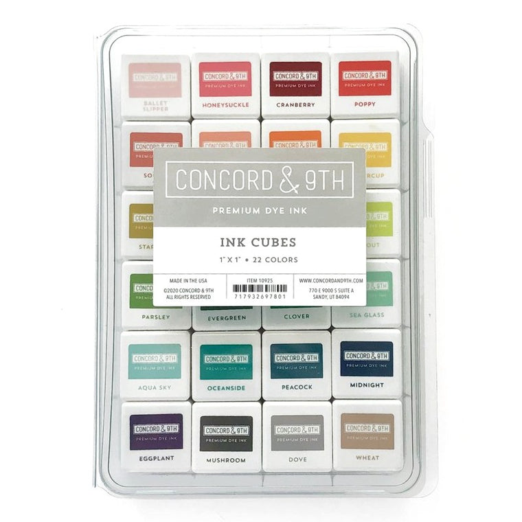 "Concord & 9th Mini 1"" Premium Dye Ink Cubes in 22 Colors Bundle Set - Item 10925 Made In The USA"