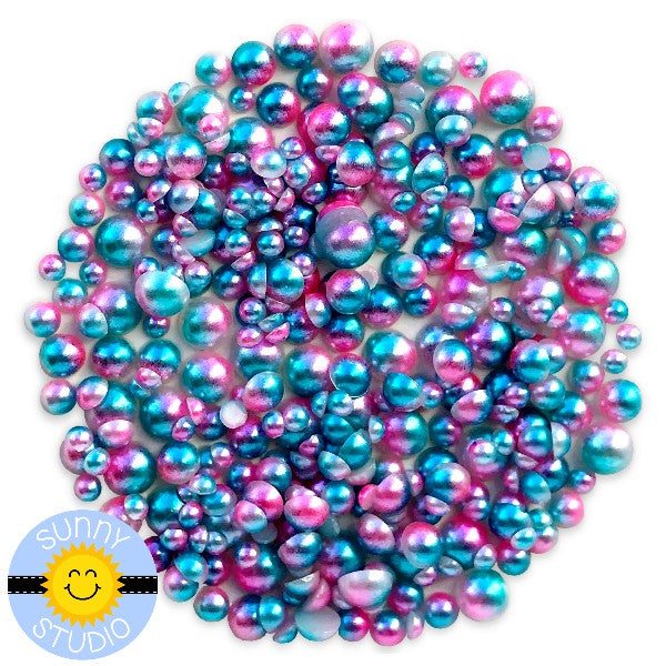 Sunny Studio Stamps Cotton Candy Blue & Pink Ombre 2-Tone Loose Flat Back Half Pearls Embellishments- 3mm, 4mm, 5mm & 6mm