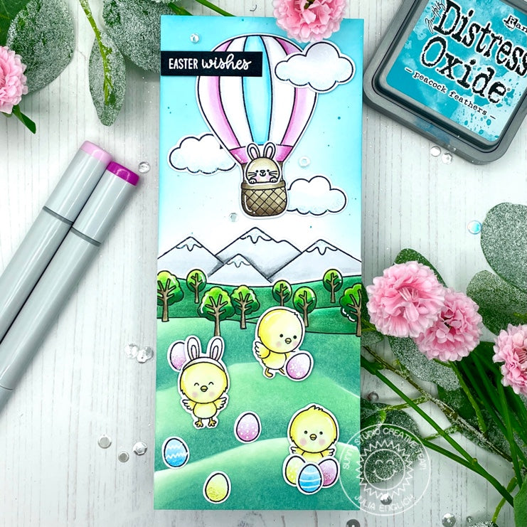 Sunny Studio Bunny in Hot Air Balloon Flying over Chicks Easter Egg Hunt Slimline Card (using Balloon Rides 4x6 Clear Stamps)