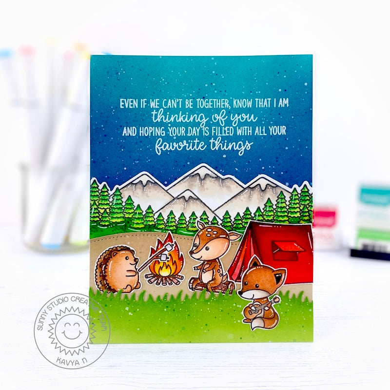 "Sunny Studio ""Even If We Can't Be Together, Know that I'm thinking of you and hoping your day is filled with all your favorite things"" Critters Camping Card (using Inside Greetings Birthday Stamps)"