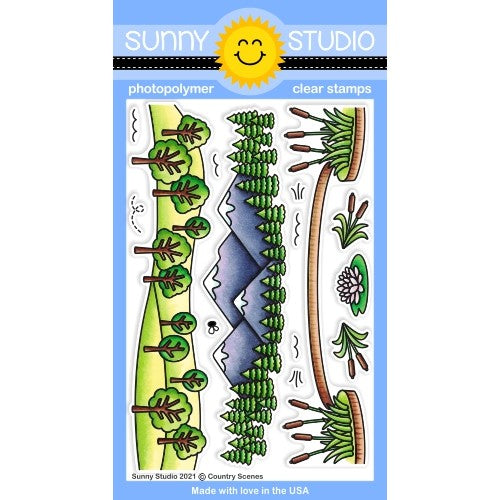 Sunny Studio Stamps Country Scenes 4x6 Hillside, Mountains & Pond Clear Photopolymer Stamp Set