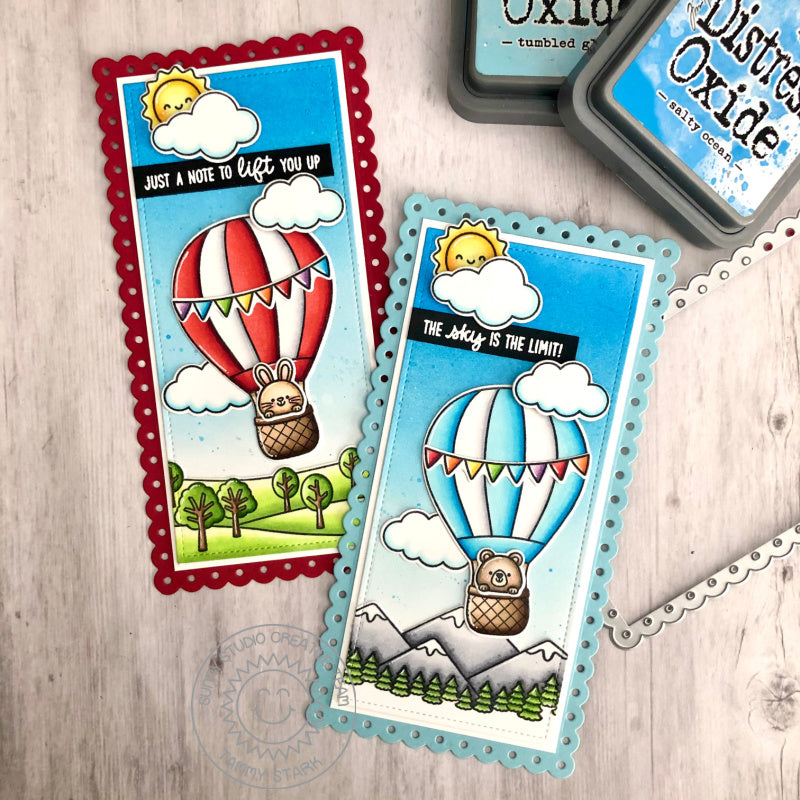 Sunny Studio The Sky's The Limit Critters in Hot Air Balloons Handmade Slimline Cards (using Balloon Rides 4x6 Clear Stamps)