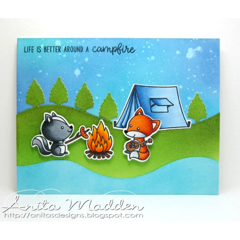 Sunny Studio Stamps: Critter Campout Fox & Skunk Camping at Twilight Card