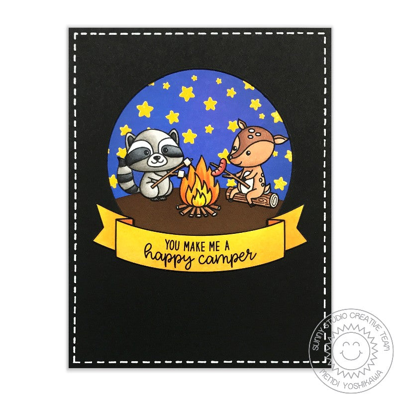 Sunny Studio Stamps Critter Campout Raccoon & Deer Happy Camper Card