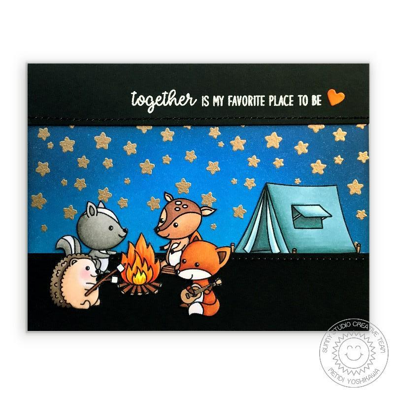 "Sunny Studio Stamps: Critter Campout Tent & Campfire ""Together Is My Favorite Place To Be"" Card"