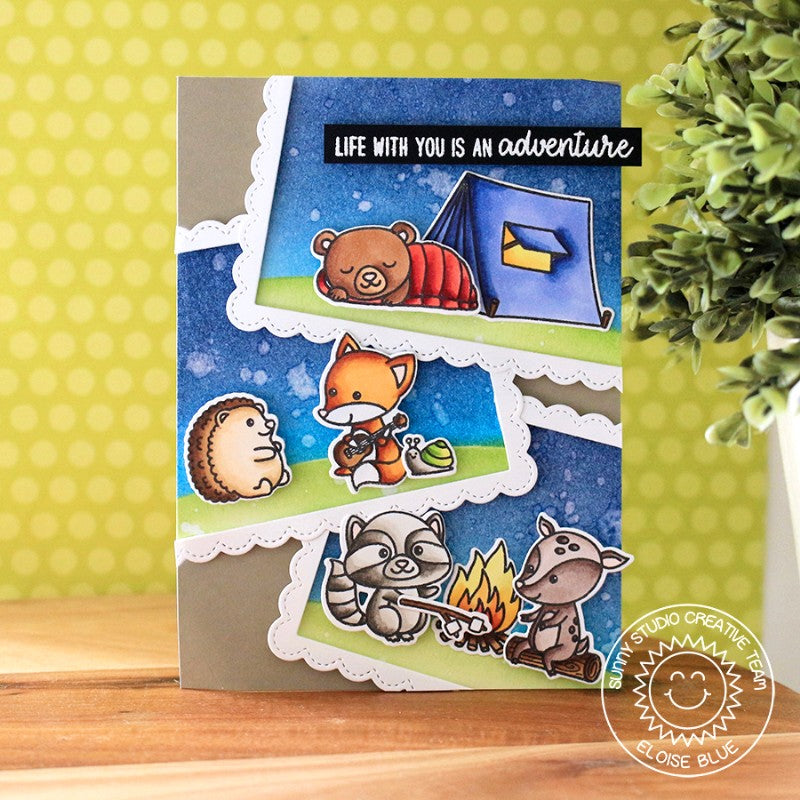 Sunny Studio Stamps Critter Campout Card by Eloise Blue (using Fancy Frames Stitched Scalloped Rectangle Dies)