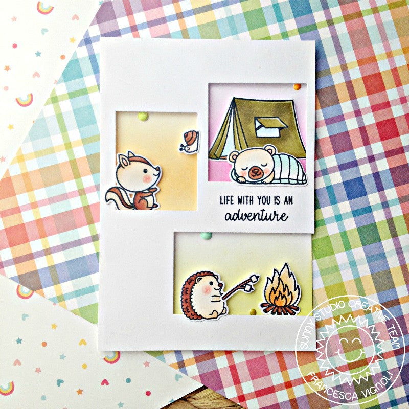 Sunny Studio CRITTER CAMPOUT 4x6 Clear Stamps /& Custom Craft Die Set