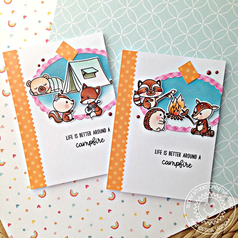 Sunny Studio Stamps Critter Campout Card featuring Orange Polka-dot Parade 6x6 Patterned Paper