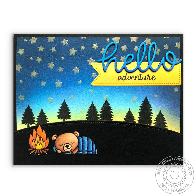 Sunny Studio Hello Adventure Camping Card using Cascading Stars Background Stamps