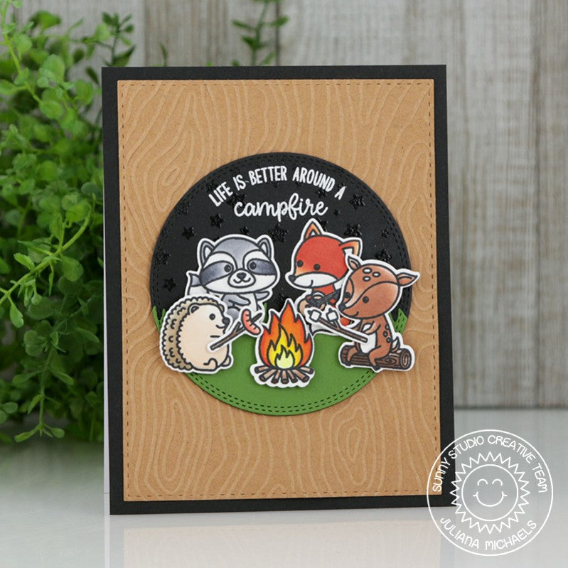 Sunny Studio Stamps Life Is Better Around A Campfire Card (using Cascading Stars & Critter Campout stamps)