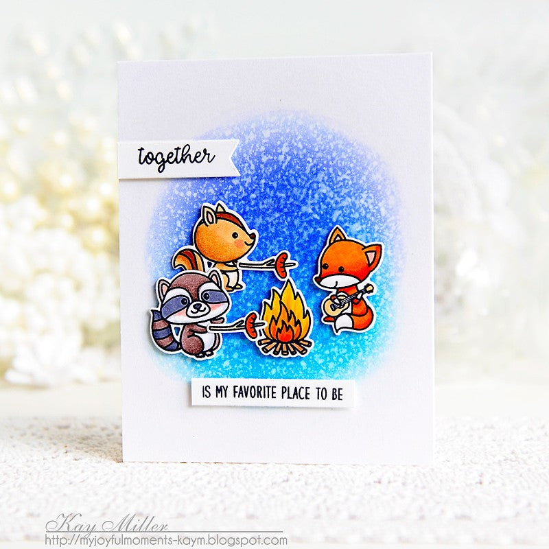 "Sunny Studio Stamps Critter Campout ""Together Is My Favorite Place To Be""Campfire Card"