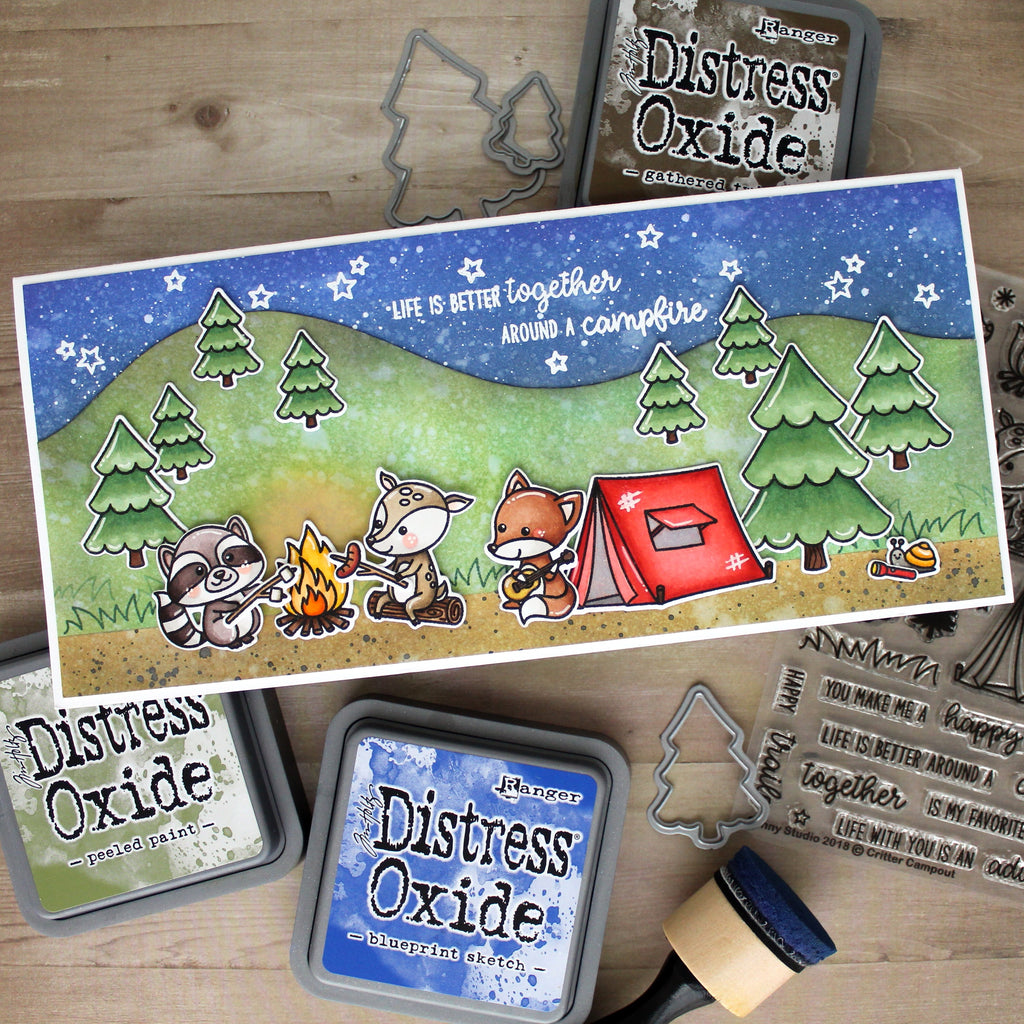Sunny Studio Stamps Critter Campout Panoramic Scene Camping Themed card
