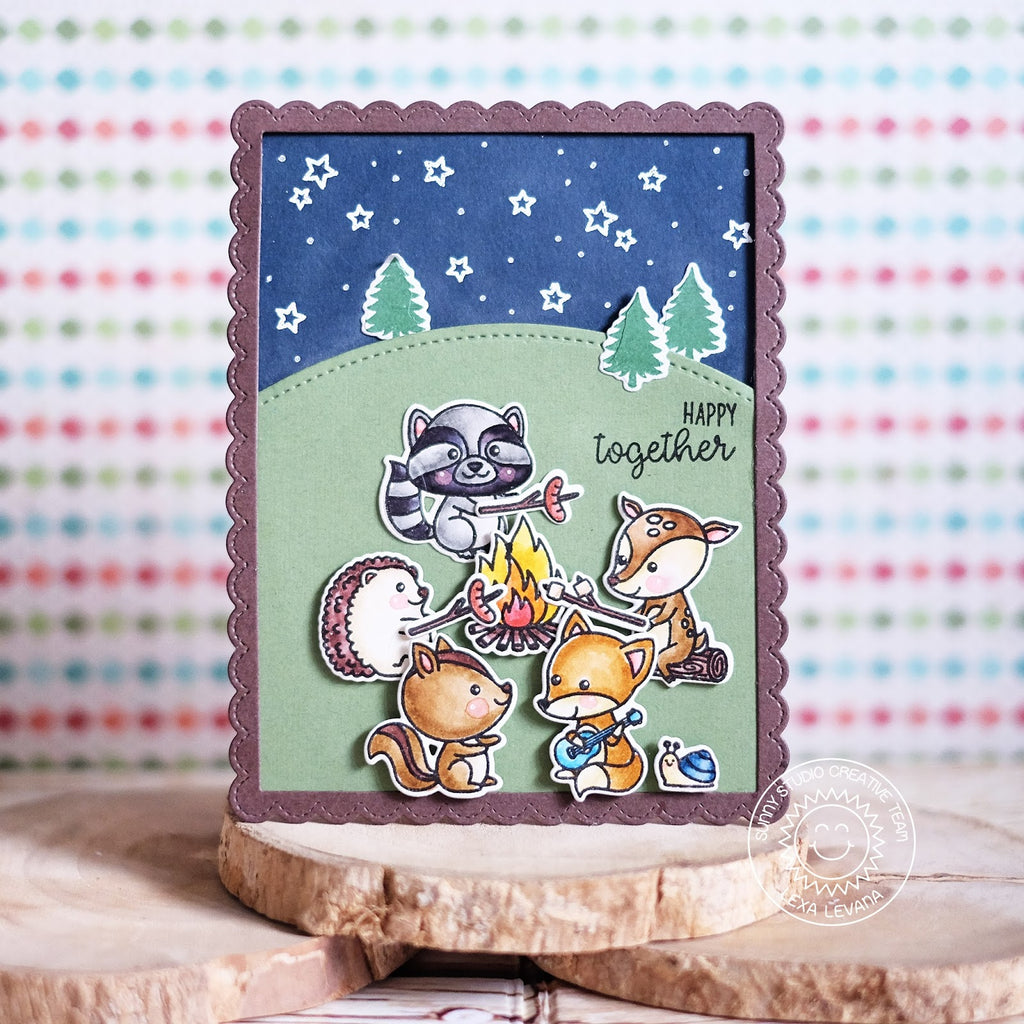 Sunny Studio Stamps Woodland Camping Card using Fancy Frames Stitched Scalloped Rectangle Dies