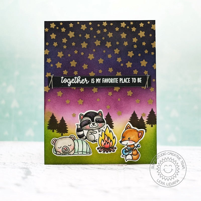 Sunny Studio Stamps Camping Card with Starry Night's Sky using Cascading Star Stamps