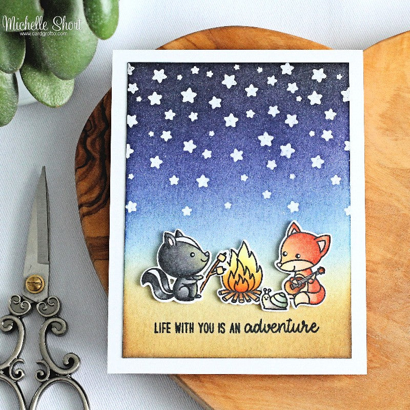 Sunny Studio Stamps Critter Campout Card with Starry Night Sky using Cascading Stars background stamp